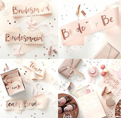HEN PARTY Rose Gold TEAM BRIDE SASHES Bridesmaid Bride to Be Sash Stylish Classy