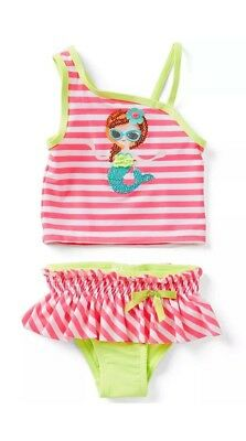 NWT FLAPDOODLES Toddler Girl 2T Mermaid Sequin 2-Piece Tankini Swimsuit Pink
