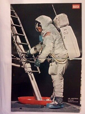 Vintage 1960s Magazine Poster Picture - NEIL ARMSTRONG French Paris Match - Moon