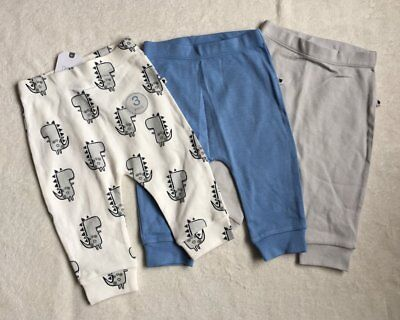 ***BNWT Next baby boys Blue/grey Dino leggings joggers 3 pack set 9-12 months***
