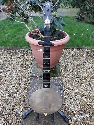 "Old ""Zither"" Banjo. Celebrated Benary. 6 String. With Case. 1870s? Very Original"