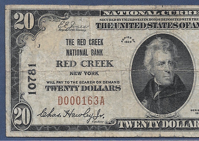 Ny 1929 $20   ♚♚ Red Creek, New York ♚♚ Pcgs Fine 12   Very Hard To Find!!!