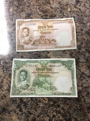 Thailand 20 And 10 King Rama Banknote Paper Money