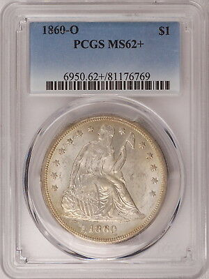 1860-O PCGS MS62+ Seated Liberty Dollar, a choice original piece for type