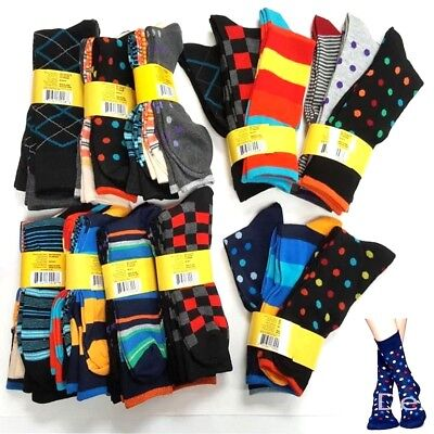 6 Pairs Women Crew Socks Novelty Bright Colorful Printed Casual Dot Strip 9-11