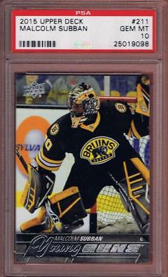 2015-16 Upper Deck Malcolm Subban Young Guns Rookie #211 Psa 10 Rc Ud Yg 15-16