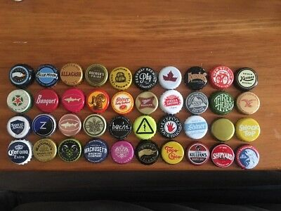 Lot of 40 Beer Caps Craft Micro ASSORTED Colorful USED Brewery CRAFTING