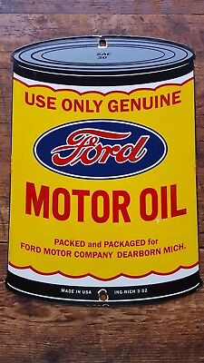 Ford Motor Oil porcelain pump plate sign can Mustang Bronco Nascar ING-RICH 3-32
