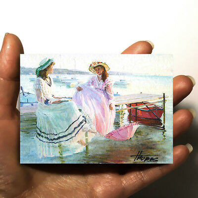 """FANTASTIC ORIGINAL ART PICTURE WATERCOLOR HAND PAINTED ACEO """"Sisters"""" signed"""