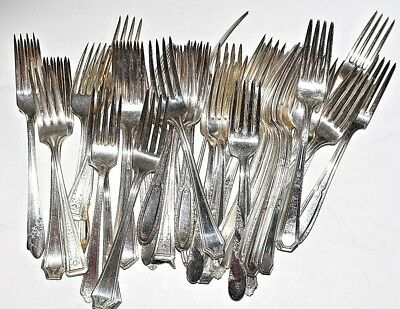 Vintage Mixed Silverplate Silverware Lot of 50 Forks Banquet Wedding Jewelry