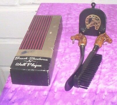 Vintage Retro Brush Shoehorn N Wall Plaque Set
