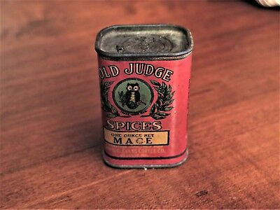 Vintage Old Judge Mace Spices Tin David G Evans Coffee Company Owl Unopened