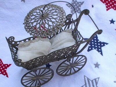 """Miniature Antique Victorian Pewter Metal Buggy with Umbrella  OLD 5 """" long"""