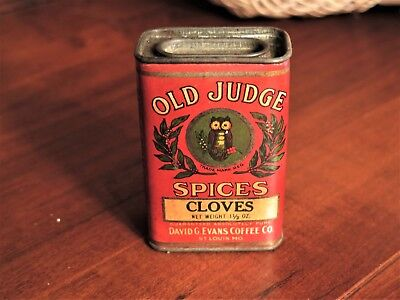 Vintage Old Judge Cloves Spices Tin David G Evans Coffee Company Owl Unopened