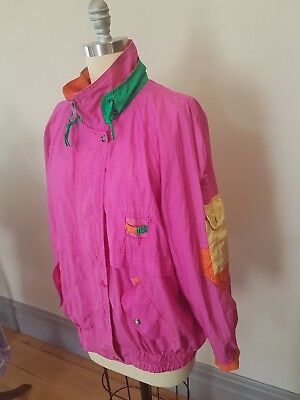 Vintage 90s Panelled Windbreaker Neon Pink Orange Green Multi Coloured Size L