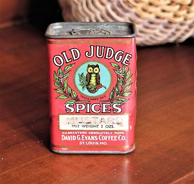 Vintage Old Judge Mustard Spices Tin David G Evans Coffee Company Owl Unopened