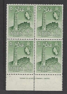 ADEN QEII 1965 5c. Green. Unmounted mint MNH imprint block of four stamps. SG77.