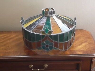 vintage antique stained glass lamp shade