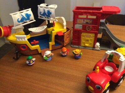 Little People Fisher Price mixed lot - Ship, Tractor, Fire Station, Figures