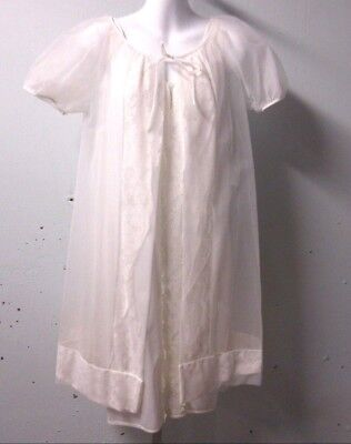 Vintage 2 pc Off-white Nightgown Peignoir Robe Set Gown Lace Knee Length Small