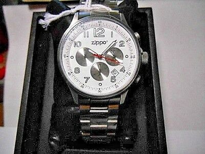 a663ecd98 Men's ZIPPO STAINLESS CHRONOGRAPH WHITE FACE WRIST WATCH NEW WITH BOX 45000  QG