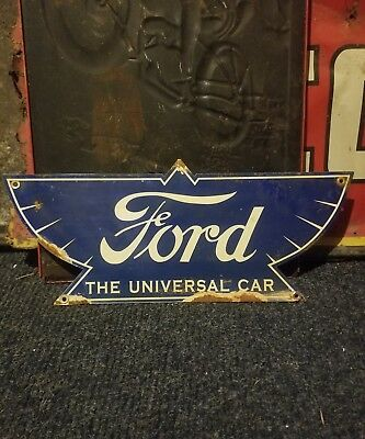 Vintage original old ford service car sign metal oil gas advertising sales rare
