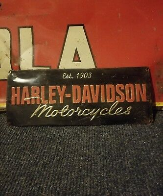 Vintage old original Harley Davidson motorcycle dealer sign metal gas oil Indian