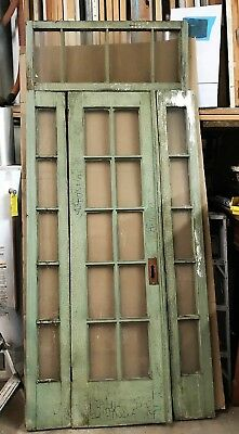 "Glass Door with 2 Side Panels with Transom- Vintage- Reclaimed 43-1/2"" x 101"""
