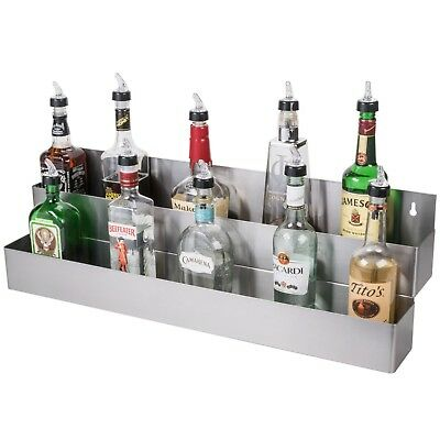 "Stainless Steel Double Tier Commercial Bar Speed Rail Liquor Display Rack 32"" S"