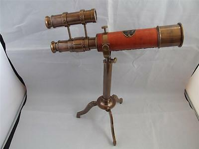 Reproduction Small Brass Telescope with Stand and Sights.