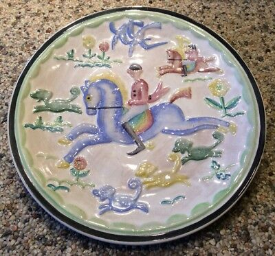 """RARE Cowan Pottery Viktor Schreckengost """"The Hunt"""" 11.25"""" Charger Plate c. 1930"""