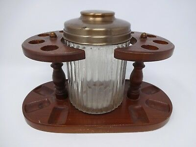 Vintage AZTEC Walnut Tobacco Ribbed Glass Jar Humidor w/ 8 Pipe Smoking Stand