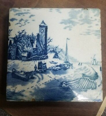 """ANTIQUE DUTCH DELFT BLUE WHITE TILE Made in Holland 6"""" by 6"""""""