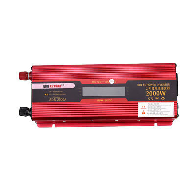 2000W Cars Vehicle Solar Power Supply Inverter Charger Adapter W/ LCD Display