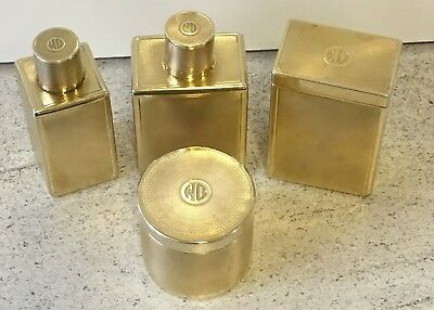 Hallmarked Silver Gilt Bottle Perfume Aftershave Antique Monogram French Box Set