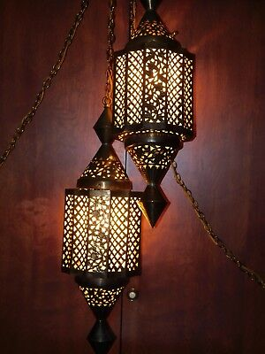 "2 Solid Brass Pierced ELECTRIC Hanging Lamps 25"" Middle Eastern 1920-33 RAREfind"