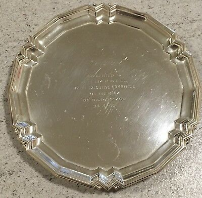 Hallmarked 1945 Mappin & Webb Silver Salver Antique Footed Tray Art Deco Style