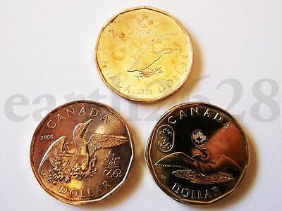 2006, 2008 & 2014! 3 x $1 Canada Olympic Lucky Loons!