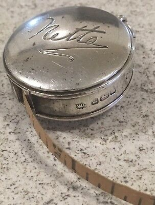 Hallmarked Silver Antique Measuring Tape Sheffield Netta Sewing Collectible