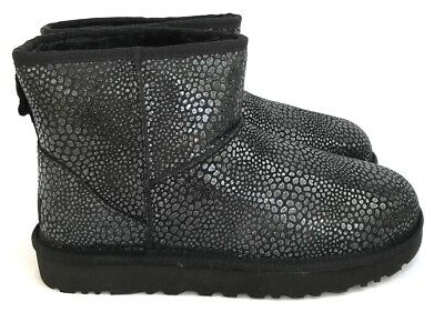 Ugg Classic Mini Glitzy Textured Shimmer Suede Wool Insole Women's Boots