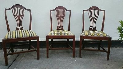 6 Georgian Mahogany Chippendale period Dining Chairs.Art Deco needlepoint covers