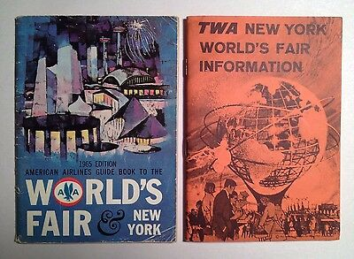 1964-1965 New York World's Fair Official American Airlines and TWA Guide Books