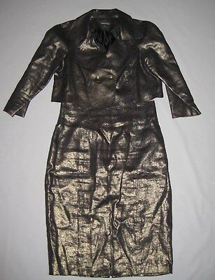 Harry Who metallic 2 piece suit jacket size 10 skirt size 12 pre-owned