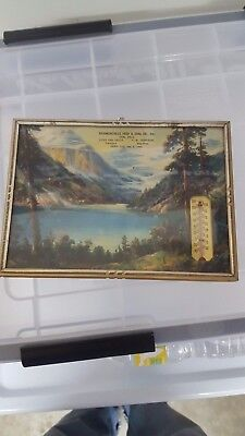 VINTAGE  RICHMONDVILLE FEEDAND COAL Advertising Thermometer Picture Calendar