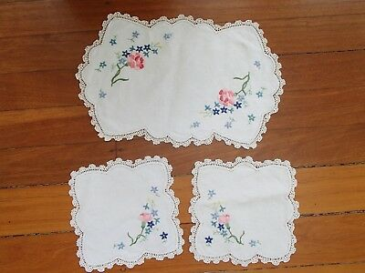 Vintage Handmade Floral Crocheted And Embroidered Doilies Set