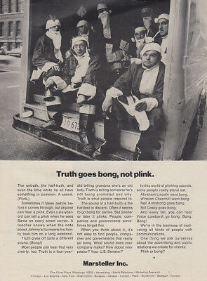 1970 Marsteller: Truth Goes Bong Not Plink Vintage Print Ad