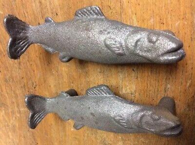 2 FISH Handles Pulls Knobs Drawer Door Cabinet rustic cast iron style Fishing