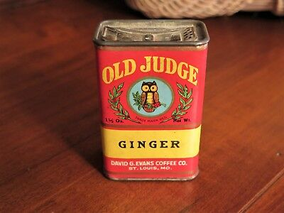 Vintage Old Judge Ginger Spices Tin David G Evans Coffee Company Owl Collectible