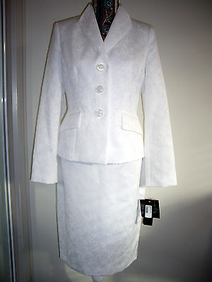 "Bnwt ""le Suit"" 2Pc Long Sleeve Wear-To-Work Suit Skirt Set Size Us6 Au10 White"
