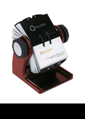 Wood Tones Open Rotary Business Card File Holds 400 2 5/8 x 4 Cards, Mahogany